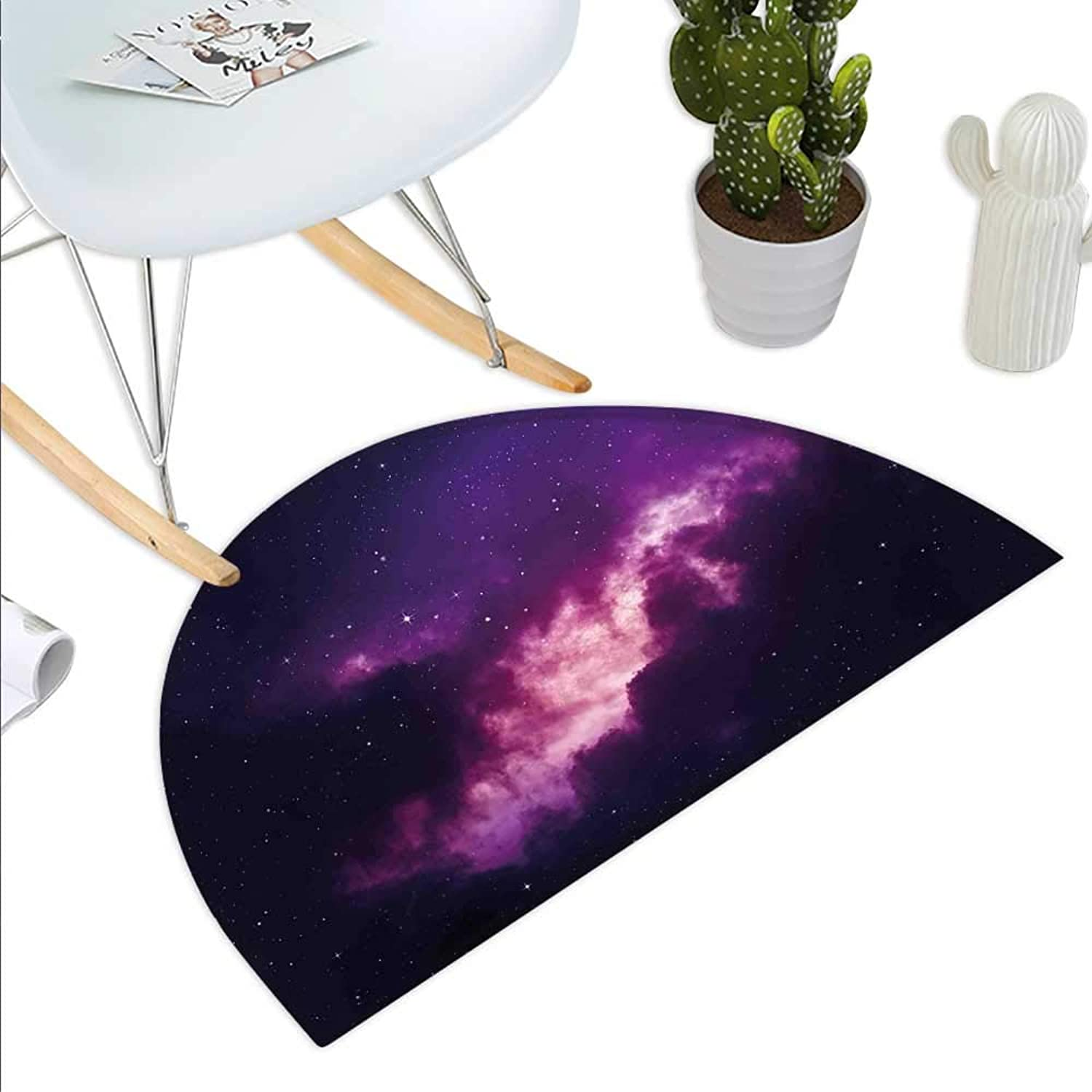 Outer Space Semicircle Doormat Stars in The Dark Night Sky Comet Constellation Deep Space Years Themed Artsy Image Halfmoon doormats H 23.6  xD 35.4  Purple