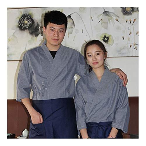 GODVC Nueva Unisex Corea del Chef japonés Estilo Uniforme del Cocinero Camisa Manga Kimono Medio Sushi Restaurante Uniformes Cocina Camarero de Trabajo (Color : Top 7, Size : S)