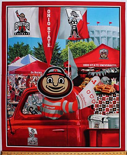 "36"" X 42"" Panel Ohio State University OSU Buckeyes Brutus Mascot Truck Go Bucks Tailgating Tailgate Party Football Fans NCAA College Sports Team Cotton Fabric Panel (D351.05)"