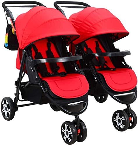 HZYD Poussette Double, Double Tandem Poussette de bébé, 5 Points Ceintures de sécurité, Design Pliable for Easy Transport (Couleur: Violet) (Couleur: Rose), Couleur: Rouge ( Color : Red )