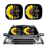 車のフロントウィンドウサンシェードブロックほとんどのセダンSUVトラックブロックサングレア紫外線と熱折りたたみ式車のフロントガラスサンシェード (Color : Live Life In Full Bloom Sunflower)