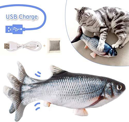 LIUMY Katzenspielzeug Fisch, Katzenminze elektrische Puppe Fisch, Simulation Elektrisch Spielzeug Fisch mit USB Charge, Interaktives Spielzeug für Haustiere