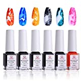 Makartt Blooming Nail Polish, Alcohol Ink Watercolor Pink Blossom Gel Nail Polish Magic Manicuring Kit Work with Transparent Red Marble Nail Vanish Young Nail Art Design, Christmas Gift 6 Colors Set