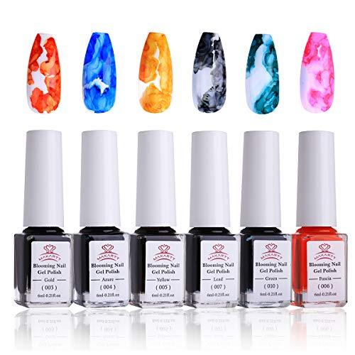 Makartt Blooming Nail Polish, Alcohol Ink Watercolor Pink Blossom Gel Nail Polish Magic Manicuring Kit Work with Transparent Red Marble Nail Vanish Young Nail Art Design,Summer 6 Colors Set