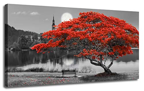 "Canvas Wall Art Painting Red Tree Lake Moon Picture One Panel Extra Large Size, Modern Panoramic Landscape Artwork Prints for Home Office Mural Décor, Ready to Hang, Wooden Framed 60""x30"""
