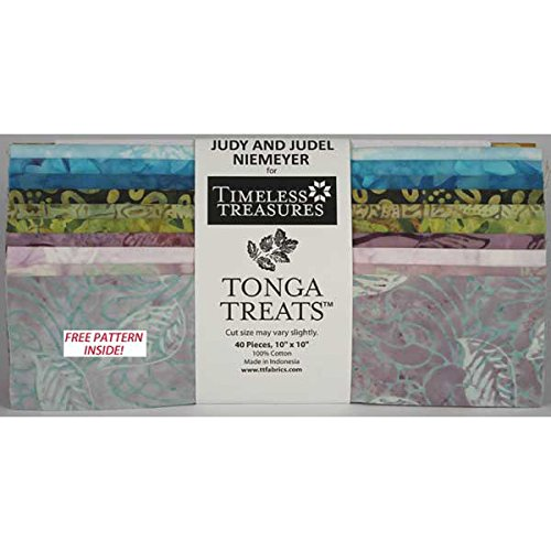 Timeless Treasures PETALS Tonga Treat Squares Precut 10-inch Cotton Fabric Quilting Squares Layer Assortment