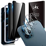 5 Pack LϟK 2 Pack Privacy Screen Protector & 3 Pack Camera Lens Protector Compatible for iPhone 12 Pro Max 5G 6.7 inch Not For iPhone 12 Pro, Case Friendly, Installation Tray - Gray