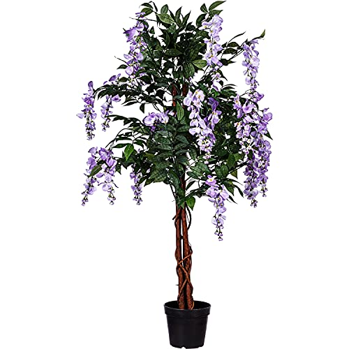 PLANTASIA® Künstlicher Wisteriabaum Blauregen, Echtholzstamm, Kunstbaum, Kunstpflanze - 120 cm, Schadstoffgeprüft