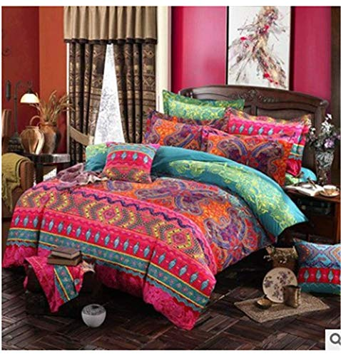 BBSET Bohemian Boho Duvet Cover Set Colorful Striped Exotic Floral Comforter Cover Ultra Soft Microfiber Ethnic Mandala Bedding Set Indian Tribal Reversible Decor 3 Pieces (Multicoloured-red, Queen)