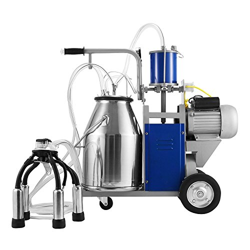VEVOR Milking Machine 1440 RPM 10-12 Cows Per Hour Electric Milking Machine with 25L 304 Stainless Steel Bucket Milk Machine for Cows (for Cow)