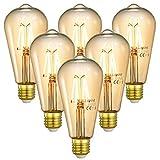 Linkind E27 Vintage LED Lampe 4W, 40W Glühlampe ersetzt, 2200K Warmweiß 400Lm ST64 Retro Deko Birne, Nicht Dimmbar, ideal für Dekoration Küche Café Bar, 6er Pack