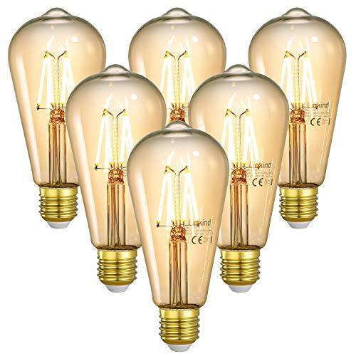Linkind E27 4W Vintage LED Lampe, 40W 400lm Glühbirne ersetzt, 2200K Warmweiß Edison Bulb, Nicht Dimmbar Retro Deko Birne für Küche Café Bar, 6er Pack