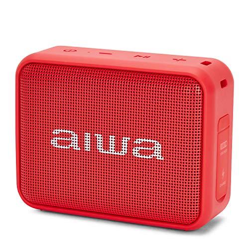 Aiwa BS-200BK Tragbarer kabelloser Bluetooth-Lautsprecher, True Wireless Stereo, wasserdicht, Rot