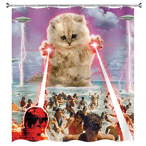 MERCHR Funny Alien Kitten cat Shower Curtain, UFO on The Beach catching Human Shower Curtains, Waterproof Polyester Fabric Bathroom Decor Bath Curtain with 12 Hooks 69x70in