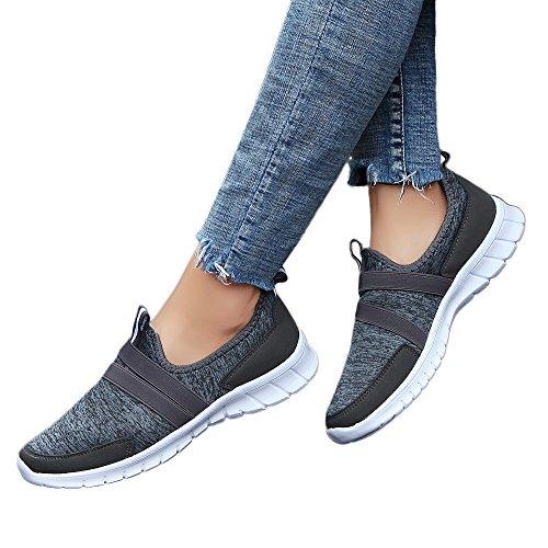 Adelgazar Zapato Deporte Mujer Hombre Con Plataforma Loafers Sneakers Zapatillas Atlético Correr Gimnasio Peso Ligero Calzado Sin Cordones De Lona Transpirable (Gris Oscuro, 42)