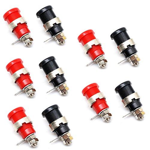 Oiyagai 10pcs 4mm Banana Plug/Jack/Socket Cable Connector Banana Safety Socket (5 Red + 5 Black)