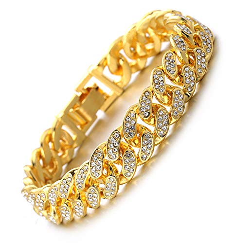 Halukakah Gold Chain for Men Iced Out,Men's 14MM Miami Cuban Link Chain Bracelet 8.7In(22cm) in 18kt Real Gold Plated,Full Cz Diamond Cut Prong Set,Gift for Him