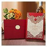 Tarjeta de Felicitación 1 unids Tarjetas de felicitación Elegantes de la Boda de la Corona del Oro del Oro 1 unids Modifops (Farbe : One Set Red, Größe : 127 x 185 mm)