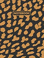 Notebook: Black and Brown Leopard Print Composition Notebook, 8.5 x 11 Inches, 110 Pages, Ruled Layout