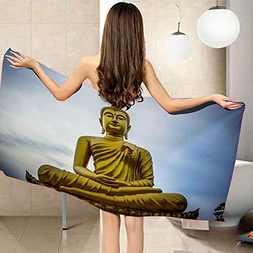 IRUAIF Toallas de Playa Antiarena de Microfibra 70x150 cm Buda de Arte Secado Rapido Ideal para natación, Viajes, Yoga, Deportes, Camping, Tumbona, baño o Ducha en casa