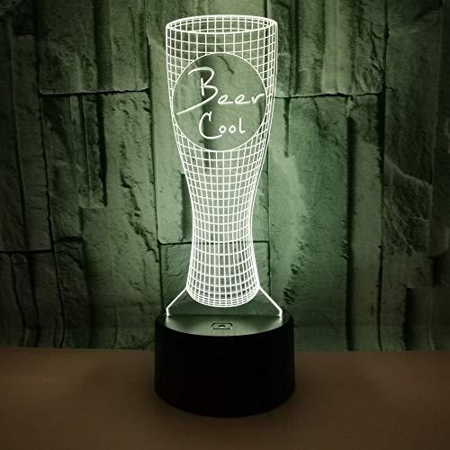 BFMBCHDJ Neue Bierglas Bunte 3D Tischlampe Desktop Dekoration 3D Lampe Touch Remote 3D Nachtlicht A4 Weiß Riss Basis + Fernbedienung