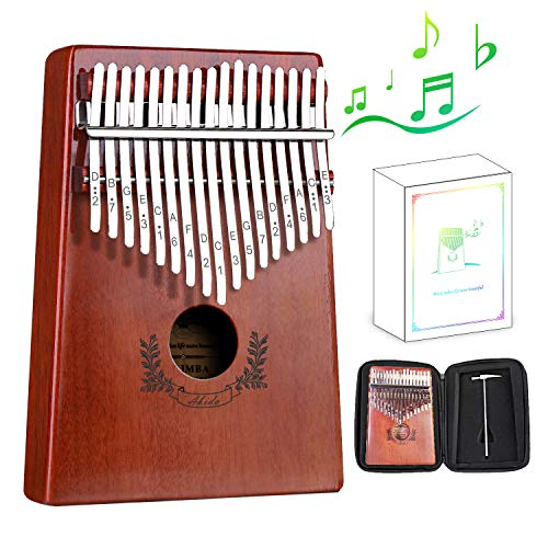 Abida Kalimba 17 Keys Thumb Piano EVA Waterproof Case Study Instruction Tuning Hammer, Solid Finger Piano Mahogany Body Portable Musical Instrument Gifts for Kids and Adult Beginners