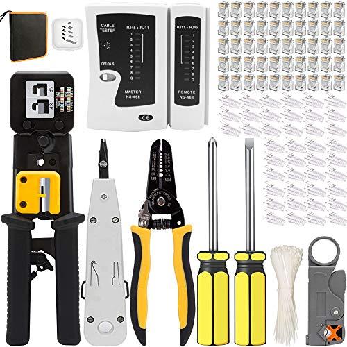 Mailine - Kit de herramientas de red profesionales, pelacables, alicates crimpadora rj45, mantenimiento del ordenador, kit LAN Tester del cable 109 en 1, herramientas de reparación (negro)