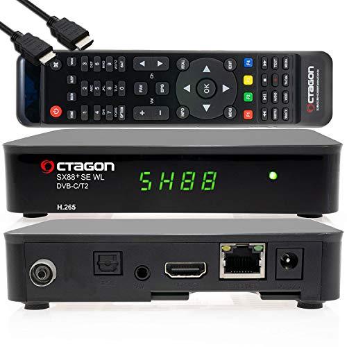 OCTAGON SX88+ SE WL H.265 HD Mini ricevitore ibrido C/T2+ Smart IPTV Box Nero - DVB-C/DVBT 2 registratore USB, lettore multimediale, LAN, WLAN, cavo HDMI, 12 V per campeggio, ricevitore IR