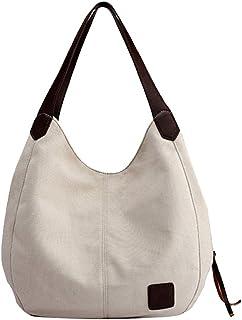 Wultia - Bags for Women 2019 Women's Canvas Handbags Vintage High Quality Female Hobos Single Shoulder Bags Bolsa Feminina White