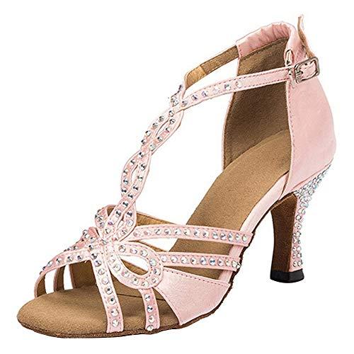 HROYL Zapatos Baile Latino Mujer Diamant Salsa Tango Fiesta Salón