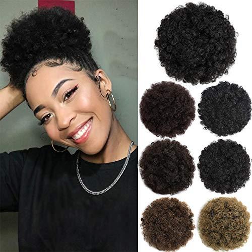 Afro Puff Drawstring Ponytails for Black Women Short Curly Ponytail Extension Kinky Hair Bun Hair Piece Wigs for Black Women Natural Black