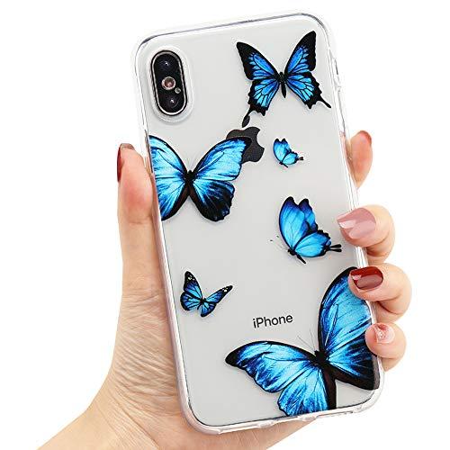 LCHULLE Capa feminina para iPhone X iPhone Xs Capa com estampa de borboleta azul fofa design cristalino transparente para meninas mulheres borracha macia TPU à prova de choque antiarranhões capa protetora para iPhone X/Xs