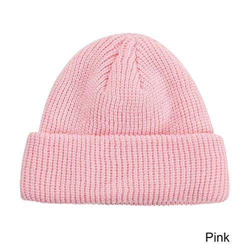 Woman winter Warm Beanies hat Casual Short Hip Hop Hat Adult Men Beanie Female Wool Knitted Beanie SkullCap Elastic Hats Unisex -pink