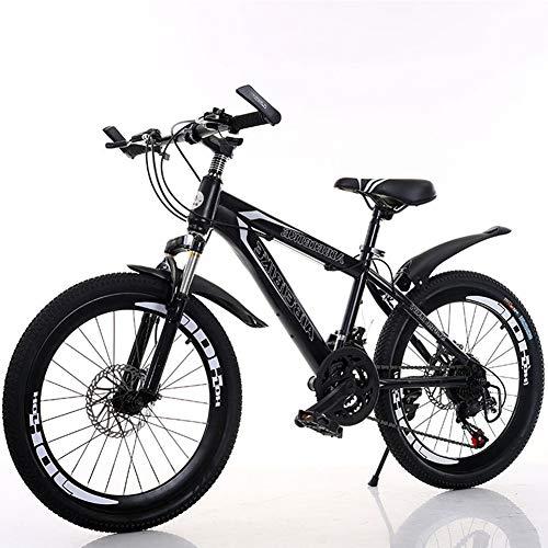 Leader Mountainbikes Fahrrad, 21 Geschwindigkeit Hochgekohlt Stahlrahmen, Doppelscheibe Stoßabsorbierendes Einstellbare Sitzfahrrad 20 Zoll,Schwarz