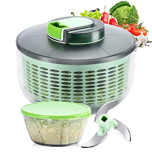 Ourokhome Large 5L Salad Spinner Onion Chopper with lid, Vegetable Washer Colander Basket- Pull String Lettuce Washer and Dryer