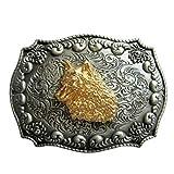 Hebilla de cabezas de lobo, 24 Ct. Hebilla de oro