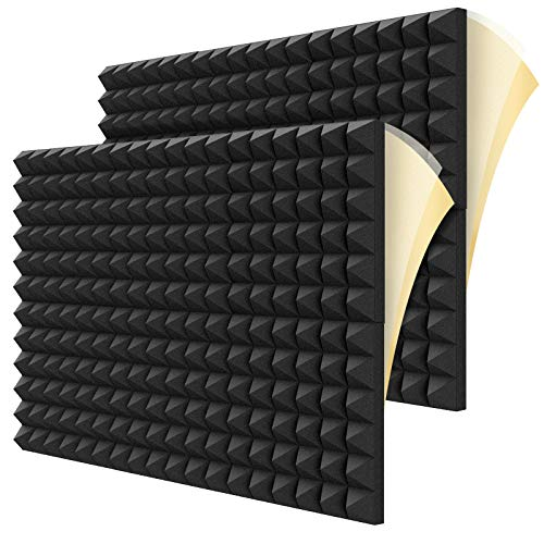 """Dailycooper 12 Pack Self-adhesive Sound Proof Foam Panels, 2"""" X 12"""" X 12"""" Acoustic Foam with High Density, Pyramid DIY Shape Acoustic Panels for Wall to Absorb Noise and Eliminate Echoes"""