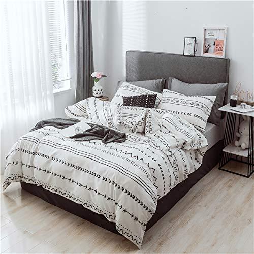 Luofanfei Geometrische Bettwäsche Schwarz Weiß Gestreift 135x200 100% Baumwolle 2 Teilig Jugendliche Bettbezug Streifen Baumwollebettwäsche mit Reißverschluss