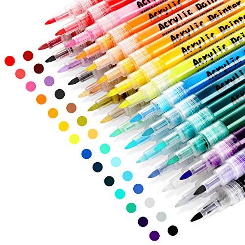 otuladores de pintura acrílica RATEL 28 colores Prima Impermeable Permanente Rotuladores para pintura rupestre, proyectos de bricolaje, cerámica, vidrio, lienzo, taza, metal, madera-Punta de 0.7 mm