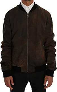 Brown Leather Bomber Zipper Jacket