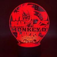 3D LED錯視ランプ ナイトライトランプワンピースモンキーストローハットパイレーツクルー日本アニメ最高のギフト用子供ランプ多色