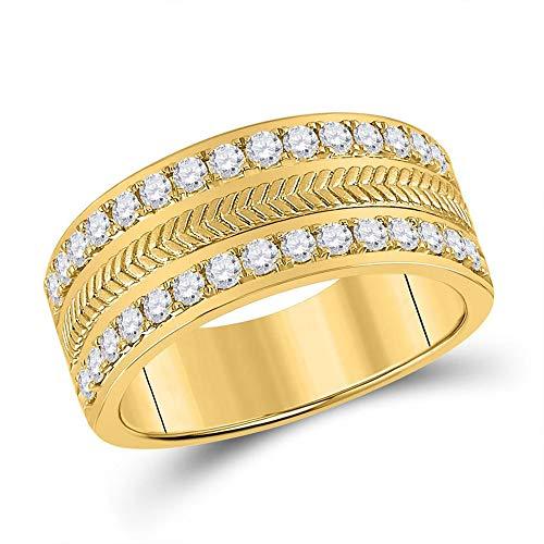Anillo de boda de oro amarillo de 14 quilates con diamante redondo para hombre 1 cttw