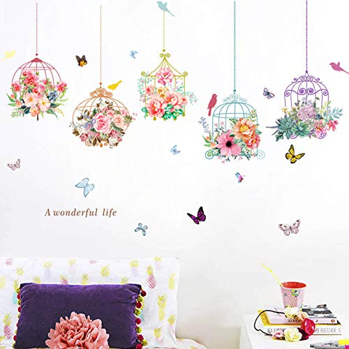 WEWINLE Colorful Plants Flower Wall Decals for Living Room Butterfly Bonsai Wall Stickers DIY Mural Art Posters (Flower)