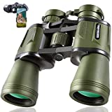 20x50 Hunting Binoculars for Adults 28mm Large Eyepiece HD Professional Bird Watching Binoculars for Hiking Sightseeing Travel Sports Concert with BAK4 Prism FMC Lens, Army Green