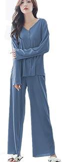 YIJODMレディースパジャマ ルームウェア 2点セット 寝巻き 上下セット 長袖 部屋着 純色 ウエストゴム ポケット付き 爽やか 薄手 秋