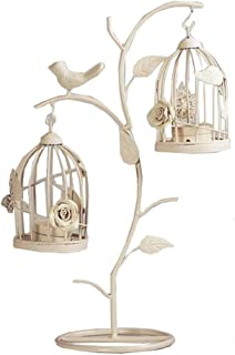 LANLONG Moroccan Style Candle stick Candleholder Vintage Tea Light Candle Holder Hollow Bird Cage Candlestick Wedding Decor Gifts (white, M)