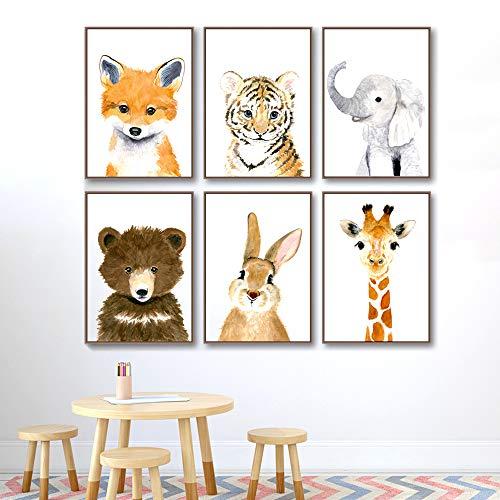 lulupila Bilder Poster Babyzimmer Kinderzimmer Deko Wohnzimmer A4 Kinderposter Kinderbilder Tiere Tiermotive Waldtiere für Kinder Junge Mädchen (6er Set - V1)