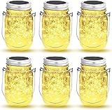 Lampada Solare, 6 Pezzi Lanterne da Esterno con 30 LED Impermeabile, Illuminazione Lampade Solari Barattolo di Vetro per Interno Esterno Luminose Giardino Feste Camera e Decorazioni Natalizie