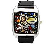 TAPORT Reloj cuadrado de cuarzo Jesucristo con correa de piel negra