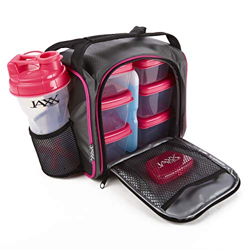 Fit & Fresh Original Jaxx FitPak Insulated Cooler Lunch Box, Meal Prep Bag with Portion Control Containers, Ice Pack, 28 oz Shaker, Standard, Pink